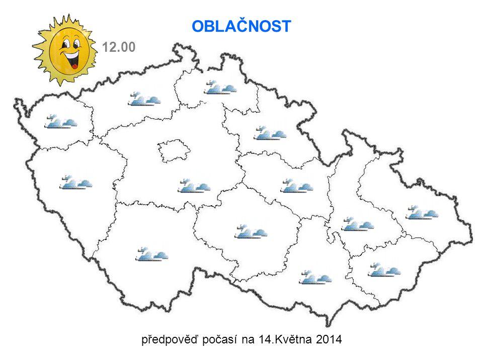 12.00 OBLAČNOST předpověď počasí na 14.Května 2014