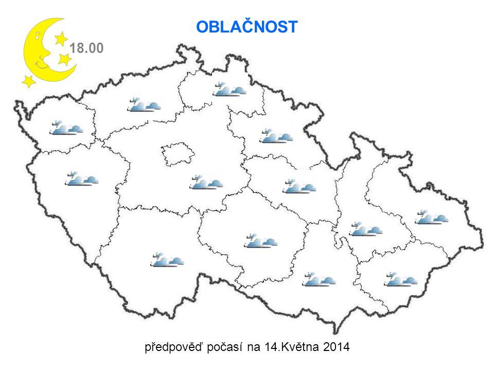 18.00 OBLAČNOST předpověď počasí na 14.Května 2014