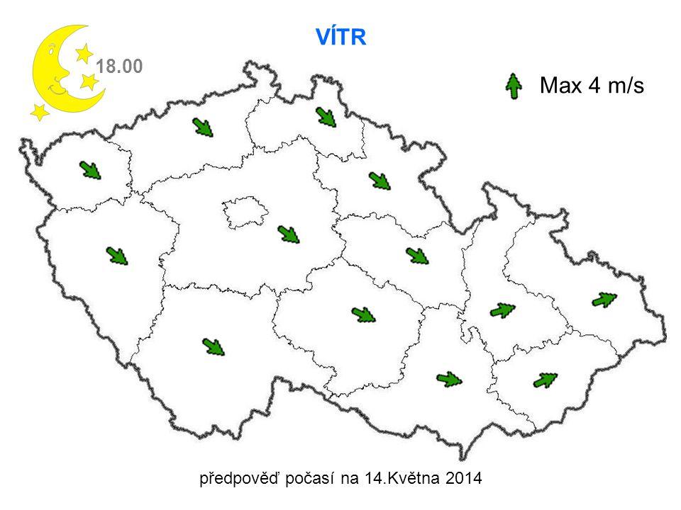 VÍTR 18.00 Max 4 m/s předpověď počasí na 14.Května 2014