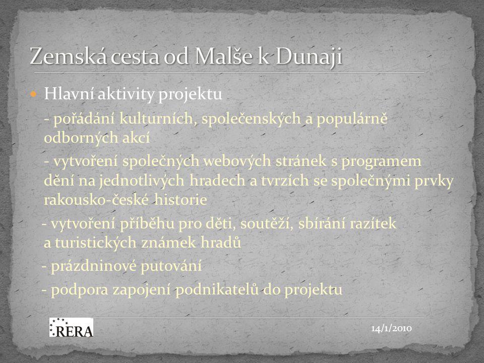 Hlavní aktivity projektu - pořádání kulturních, společenských a populárně odborných akcí - vytvoření společných webových stránek s programem dění na jednotlivých hradech a tvrzích se společnými prvky rakousko-české historie - vytvoření příběhu pro děti, soutěží, sbírání razítek a turistických známek hradů - prázdninové putování - podpora zapojení podnikatelů do projektu