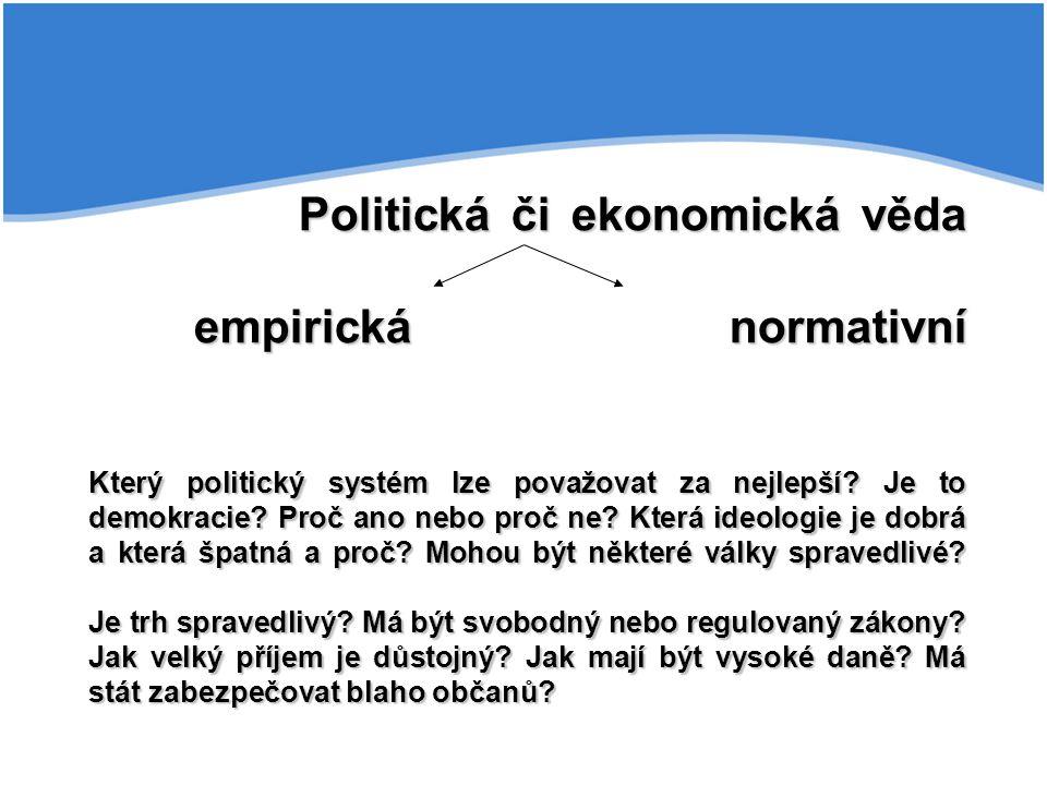 Politická či ekonomická věda empirická normativní Který politický systém lze považovat za nejlepší? Je to demokracie? Proč ano nebo proč ne? Která ide