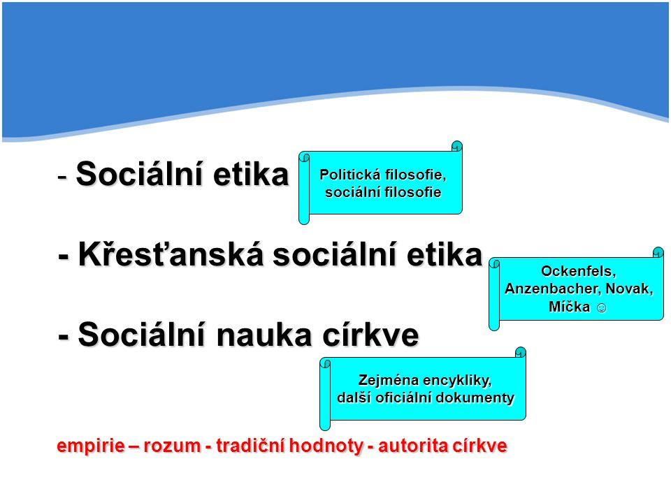 - Sociální etika - Křesťanská sociální etika - Sociální nauka církve empirie – rozum - tradiční hodnoty - autorita církve Ockenfels, Anzenbacher, Nova