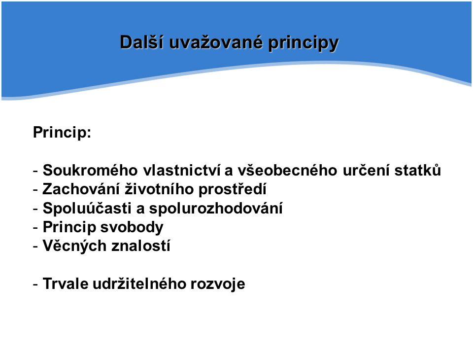 Další uvažované principy Princip: - Soukromého vlastnictví a všeobecného určení statků - Zachování životního prostředí - Spoluúčasti a spolurozhodován