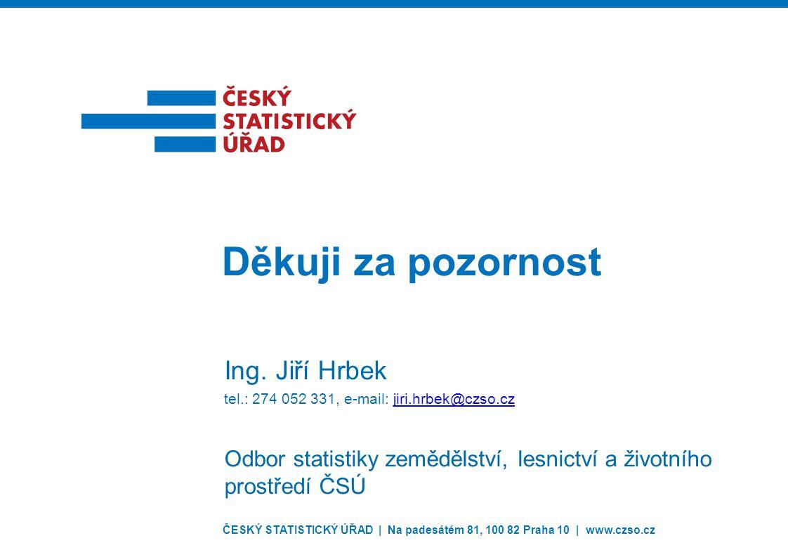 ČESKÝ STATISTICKÝ ÚŘAD | Na padesátém 81, 100 82 Praha 10 | www.czso.cz Děkuji za pozornost Ing. Jiří Hrbek tel.: 274 052 331, e-mail: jiri.hrbek@czso