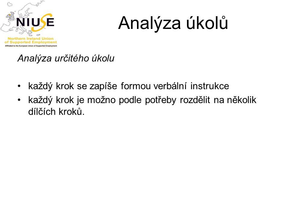 Analýza úkolů Analýza určitého úkolu každý krok se zapíše formou verbální instrukce každý krok je možno podle potřeby rozdělit na několik dílčích krok