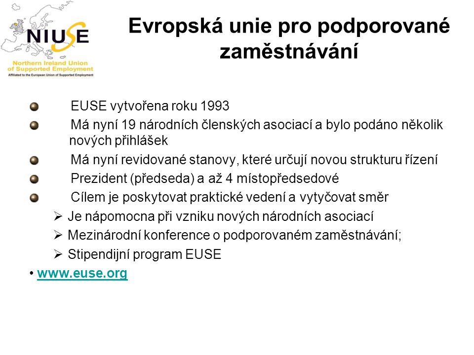 Evropská unie pro podporované zaměstnávání EUSE vytvořena roku 1993 Má nyní 19 národních členských asociací a bylo podáno několik nových přihlášek Má