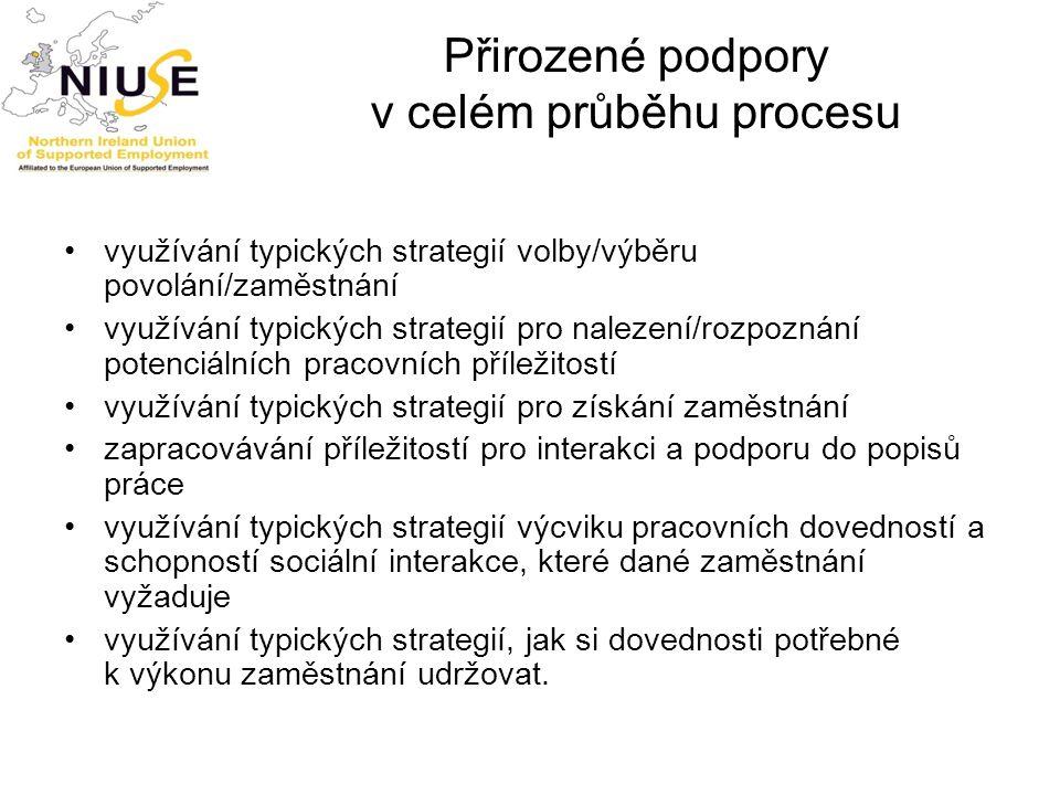 Přirozené podpory v celém průběhu procesu využívání typických strategií volby/výběru povolání/zaměstnání využívání typických strategií pro nalezení/ro