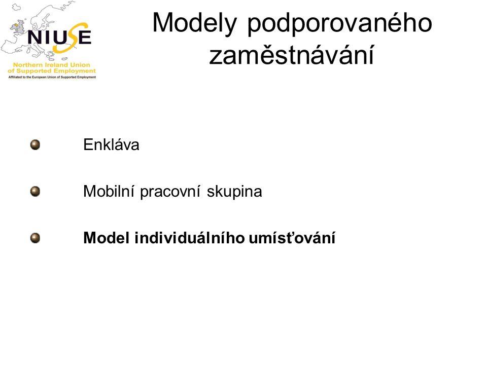 Modely podporovaného zaměstnávání Enkláva Mobilní pracovní skupina Model individuálního umísťování