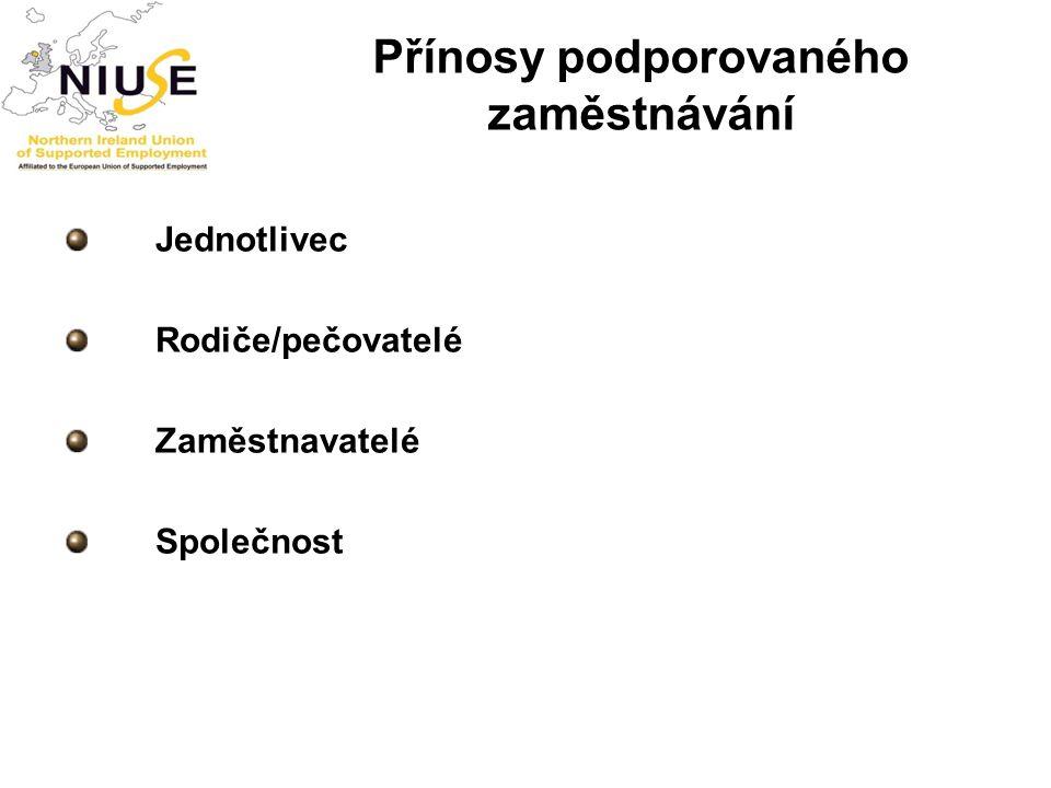 Přínosy podporovaného zaměstnávání Jednotlivec Rodiče/pečovatelé Zaměstnavatelé Společnost