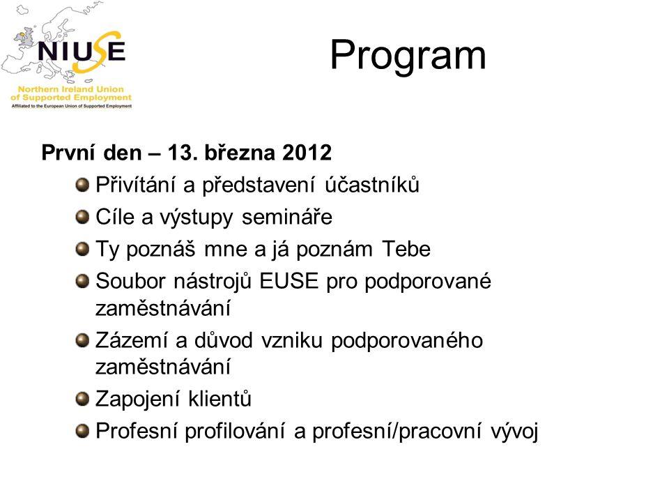 Rekapitulace průběhu prvního dne  Přehled informací o EUSE a Souboru nástrojů EUSE pro podporované zaměstnávání  Přehled – podporované zaměstnávání  Zapojení klientů  Profesní profilování a profesní/pracovní vývoj