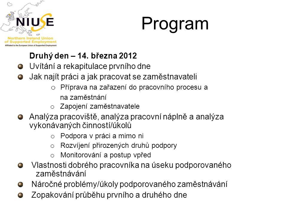 Program Druhý den – 14. března 2012 Uvítání a rekapitulace prvního dne Jak najít práci a jak pracovat se zaměstnavateli o Příprava na zařazení do prac