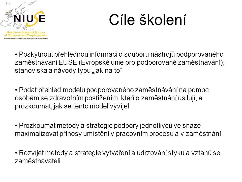 Cíle školení Poskytnout přehlednou informaci o souboru nástrojů podporovaného zaměstnávání EUSE (Evropské unie pro podporované zaměstnávání); stanovis