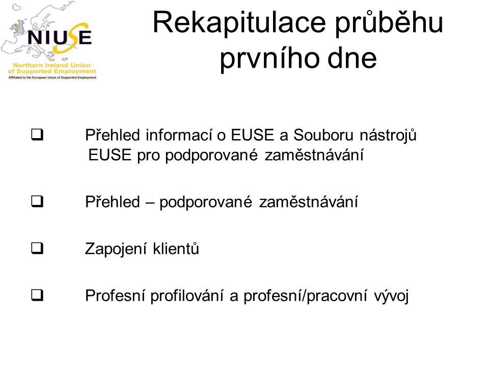 Rekapitulace průběhu prvního dne  Přehled informací o EUSE a Souboru nástrojů EUSE pro podporované zaměstnávání  Přehled – podporované zaměstnávání