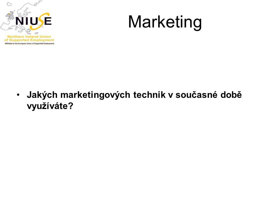 Marketing Jakých marketingových technik v současné době využíváte?