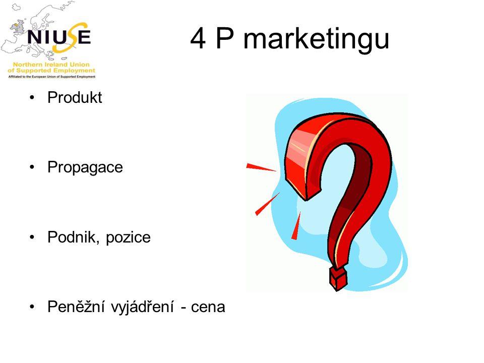4 P marketingu Produkt Propagace Podnik, pozice Peněžní vyjádření - cena