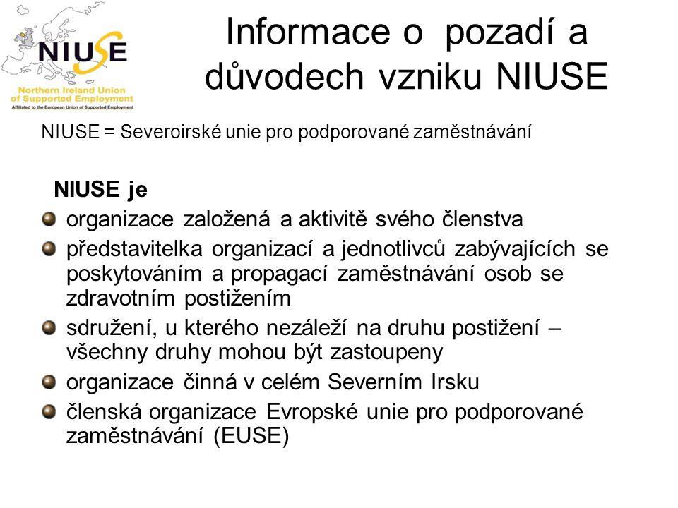 Informace o pozadí a důvodech vzniku NIUSE NIUSE = Severoirské unie pro podporované zaměstnávání NIUSE je organizace založená a aktivitě svého členstv