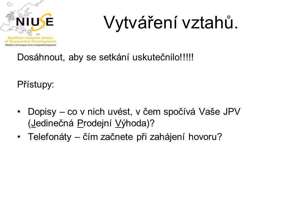 Vytváření vztahů. Dosáhnout, aby se setkání uskutečnilo!!!!! Přístupy: Dopisy – co v nich uvést, v čem spočívá Vaše JPV (Jedinečná Prodejní Výhoda)? T