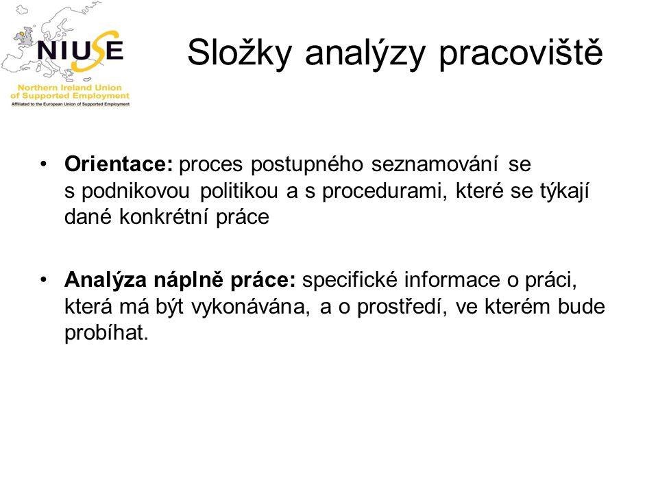 Složky analýzy pracoviště Orientace: proces postupného seznamování se s podnikovou politikou a s procedurami, které se týkají dané konkrétní práce Ana