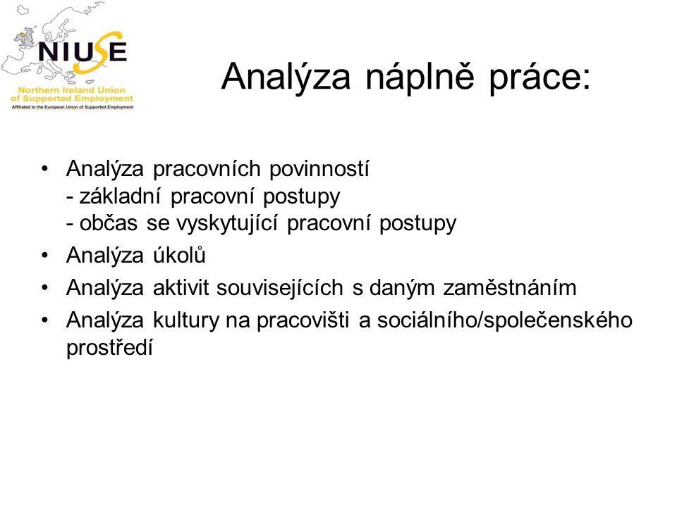Analýza náplně práce: Analýza pracovních povinností - základní pracovní postupy - občas se vyskytující pracovní postupy Analýza úkolů Analýza aktivit