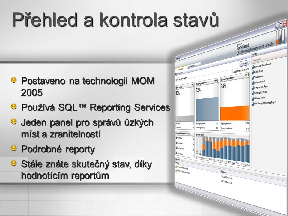 Postaveno na technologii MOM 2005 Používá SQL™ Reporting Services Jeden panel pro správů úzkých míst a zranitelností Podrobné reporty Stále znáte skutečný stav, díky hodnotícím reportům Přehled a kontrola stavů