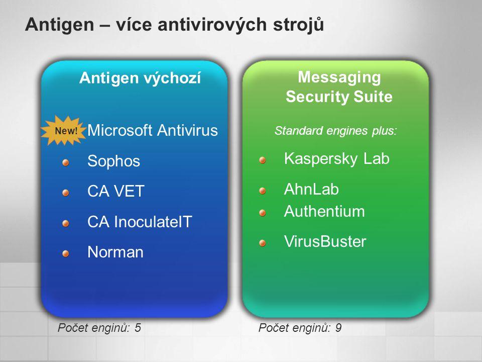 Antigen – více antivirových strojů Antigen výchozí Messaging Security Suite Standard engines plus: Počet enginů: 5Počet enginů: 9 Microsoft Antivirus Sophos CA VET CA InoculateIT Norman New.