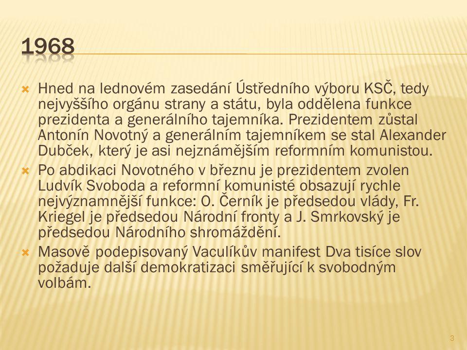  Hned na lednovém zasedání Ústředního výboru KSČ, tedy nejvyššího orgánu strany a státu, byla oddělena funkce prezidenta a generálního tajemníka.