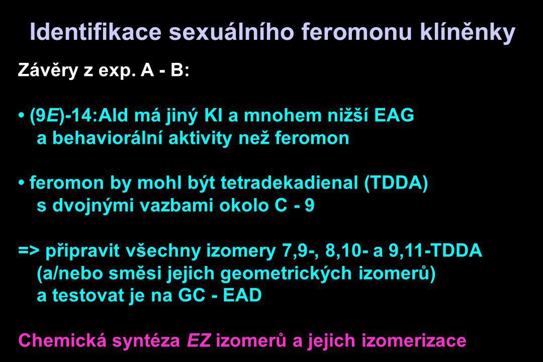 Závěry z exp. A - B: (9E)-14:Ald má jiný KI a mnohem nižší EAG a behaviorální aktivity než feromon feromon by mohl být tetradekadienal (TDDA) s dvojný