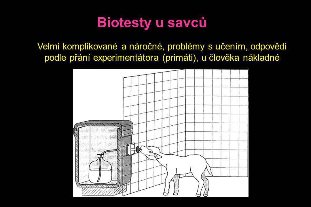 Biotesty u savců Velmi komplikované a náročné, problémy s učením, odpovědi podle přání experimentátora (primáti), u člověka nákladné