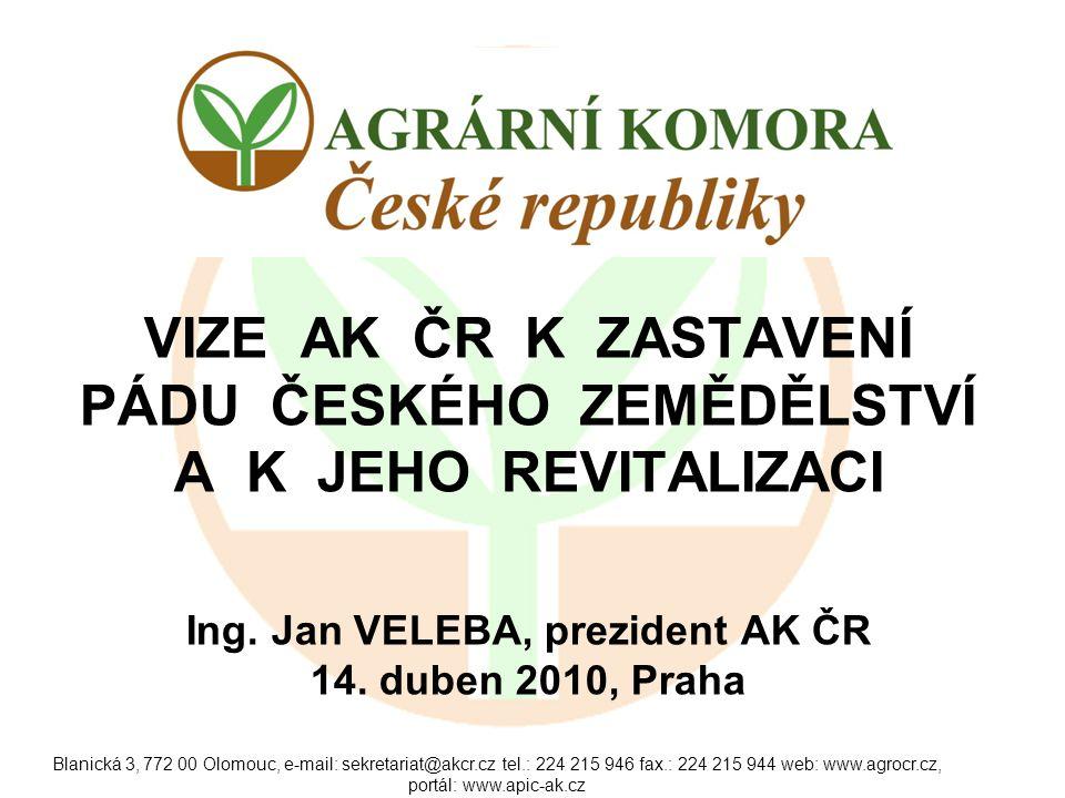 Blanická 3, 772 00 Olomouc, e-mail: sekretariat@akcr.cz tel.: 224 215 946 fax.: 224 215 944 web: www.agrocr.cz, portál: www.apic-ak.cz AKTUÁLNÍ STAV SEKTORU Nízké cenové ohodnocení produkce, problémy s odbytem prakticky u všech komodit.