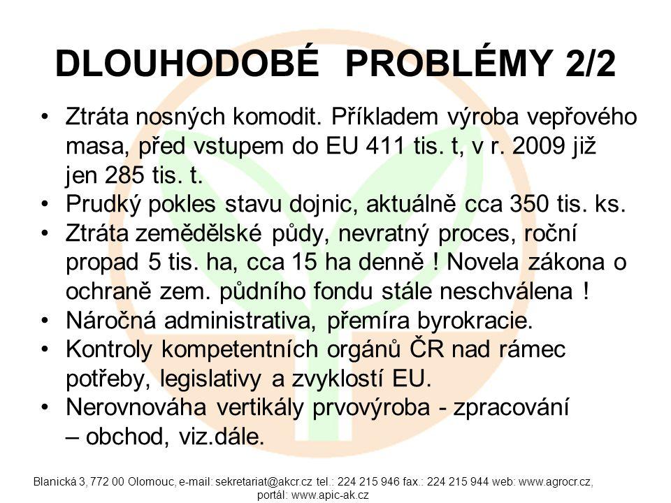 Blanická 3, 772 00 Olomouc, e-mail: sekretariat@akcr.cz tel.: 224 215 946 fax.: 224 215 944 web: www.agrocr.cz, portál: www.apic-ak.cz NEROVNOVÁHA VERTIKÁLY Potravinová vertikála, meziroční pokles příjmů: - prvovýroba - 25 %, - zpracovatelé do- 5 %, - obchod do - 3 %.