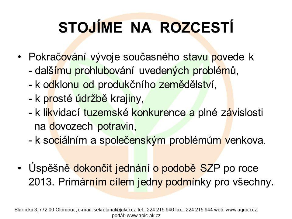 Blanická 3, 772 00 Olomouc, e-mail: sekretariat@akcr.cz tel.: 224 215 946 fax.: 224 215 944 web: www.agrocr.cz, portál: www.apic-ak.cz ZMĚNA PŘÍSTUPU K AGRÁRNÍ POLITICE Vyzýváme politiky: - podpořte naši vizi - podpořte zastavení propadu sektoru - podpořte revitalizaci celého resortu Podporu veřejnosti máme…