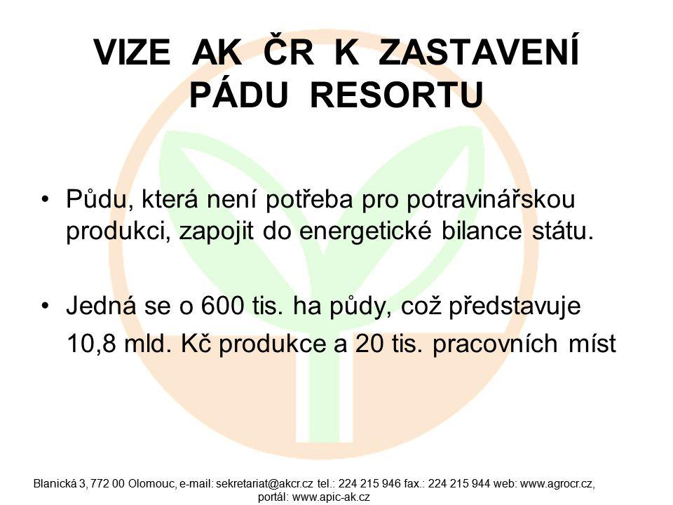 Blanická 3, 772 00 Olomouc, e-mail: sekretariat@akcr.cz tel.: 224 215 946 fax.: 224 215 944 web: www.agrocr.cz, portál: www.apic-ak.cz ZÁVĚR Zemědělství a potravinářství je strategický sektor, který má prostřednictvím potravin přímý a každodenní vliv na životy nás všech.