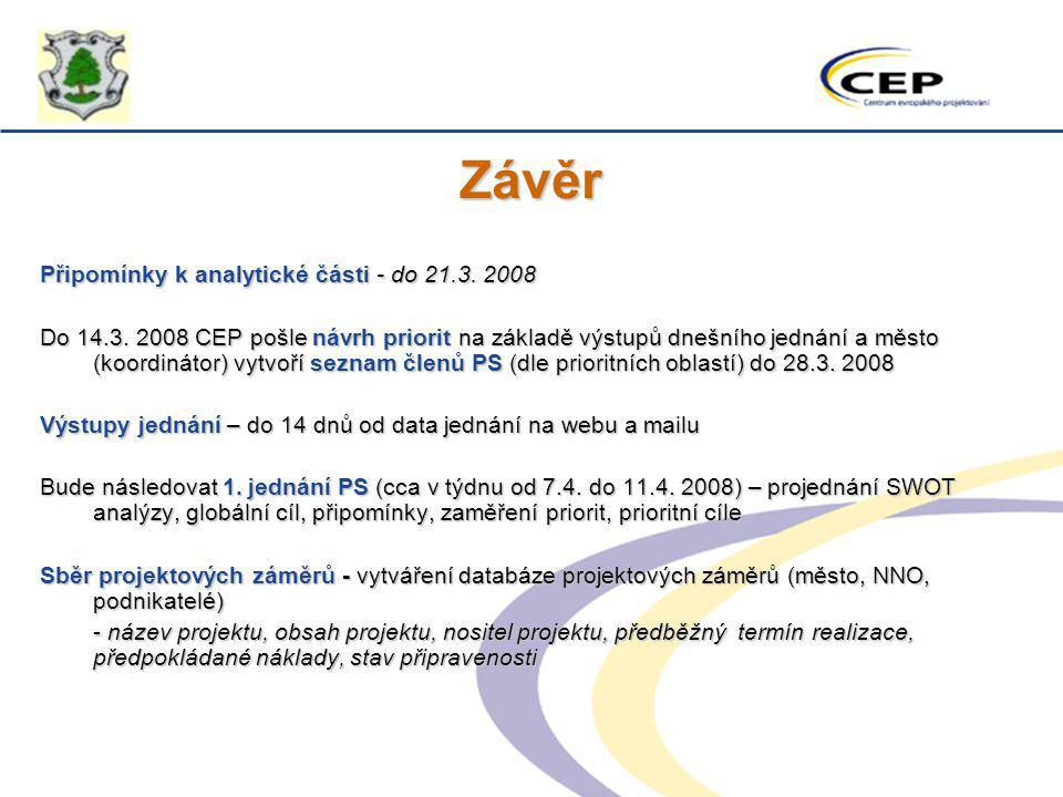 Závěr Připomínky k analytické části - do 21.3. 2008 Do 14.3. 2008 CEP pošle návrh priorit na základě výstupů dnešního jednání a město (koordinátor) vy