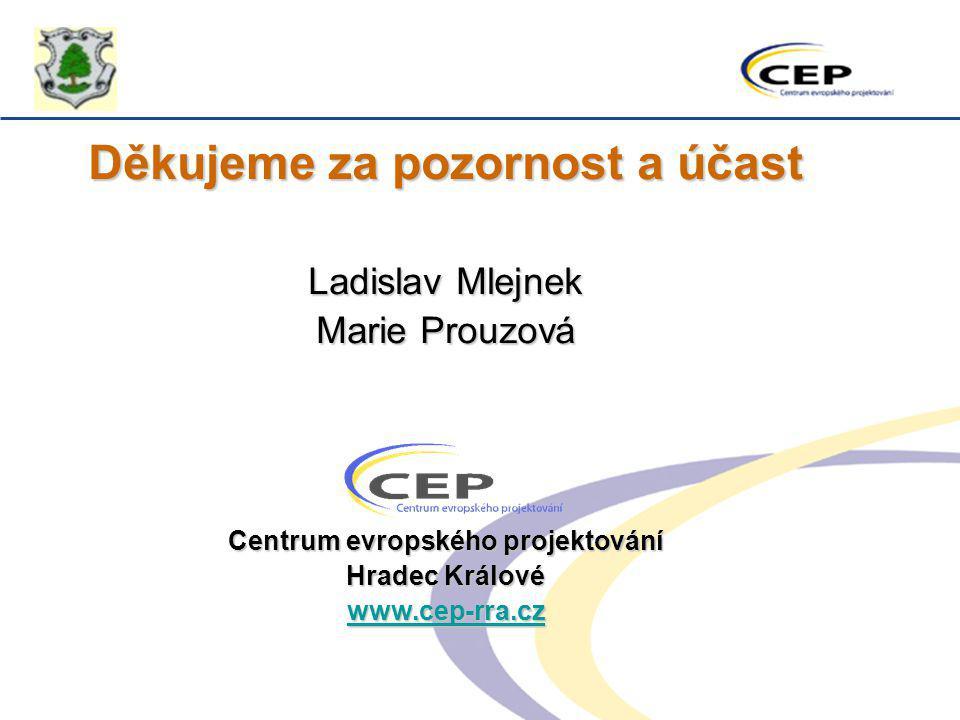 Děkujeme za pozornost a účast Ladislav Mlejnek Marie Prouzová Centrum evropského projektování Hradec Králové www.cep-rra.cz
