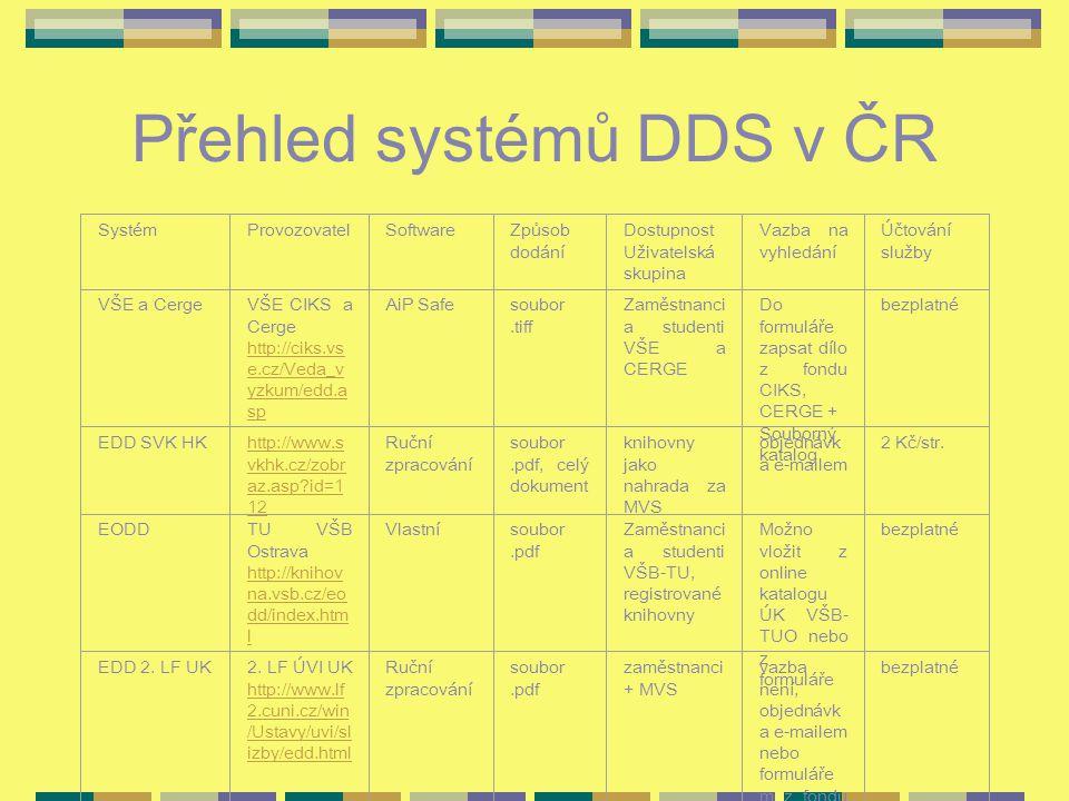 Přehled systémů DDS v ČR SystémProvozovatelSoftwareZpůsob dodání Dostupnost Uživatelská skupina Vazba na vyhledání Účtování služby VŠE a CergeVŠE CIKS