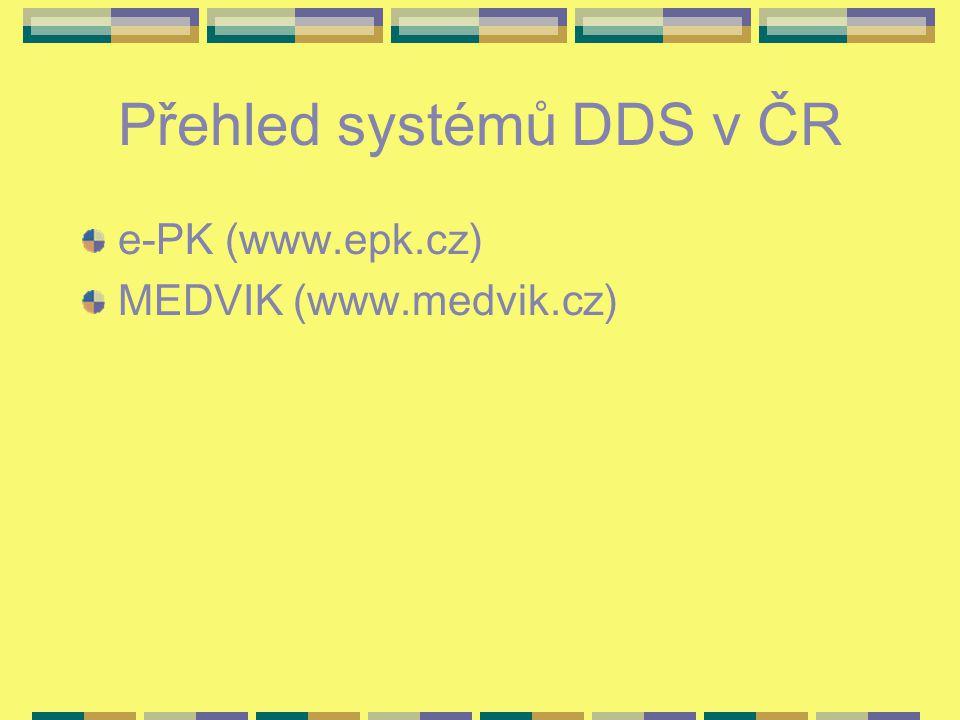 Přehled systémů DDS v ČR e-PK (www.epk.cz) MEDVIK (www.medvik.cz)