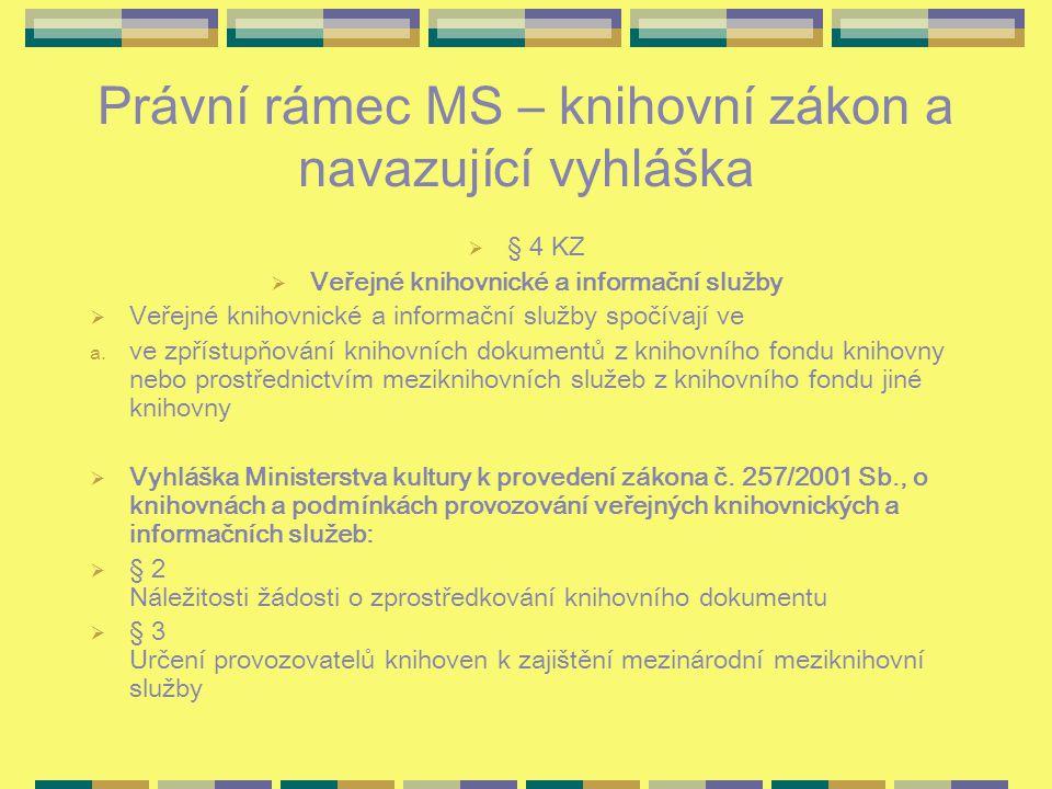 Právní rámec MS – knihovní zákon a navazující vyhláška  § 4 KZ  Veřejné knihovnické a informační služby  Veřejné knihovnické a informační služby spočívají ve a.