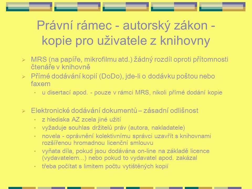 Právní rámec - autorský zákon - kopie pro uživatele z knihovny  MRS (na papíře, mikrofilmu atd.) žádný rozdíl oproti přítomnosti čtenáře v knihovně 