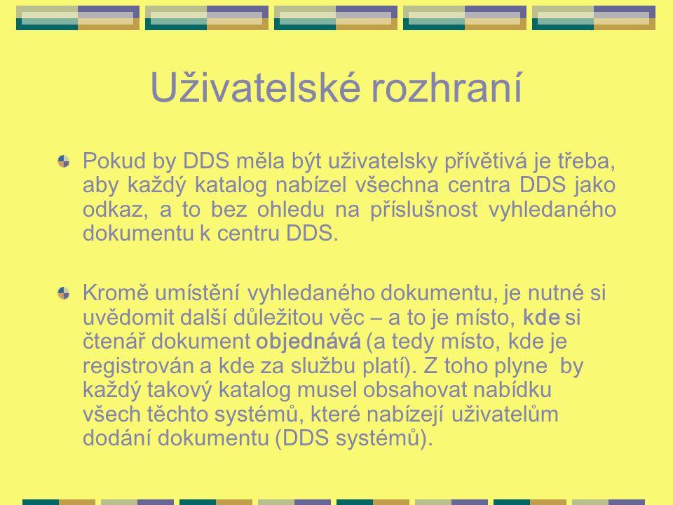 Uživatelské rozhraní Pokud by DDS měla být uživatelsky přívětivá je třeba, aby každý katalog nabízel všechna centra DDS jako odkaz, a to bez ohledu na příslušnost vyhledaného dokumentu k centru DDS.