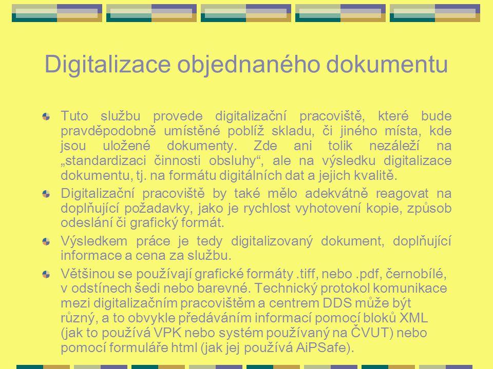 Digitalizace objednaného dokumentu Tuto službu provede digitalizační pracoviště, které bude pravděpodobně umístěné poblíž skladu, či jiného místa, kde jsou uložené dokumenty.