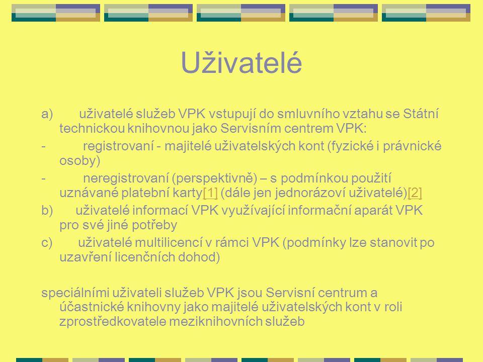 Uživatelé a) uživatelé služeb VPK vstupují do smluvního vztahu se Státní technickou knihovnou jako Servisním centrem VPK: - registrovaní - majitelé uživatelských kont (fyzické i právnické osoby) - neregistrovaní (perspektivně) – s podmínkou použití uznávané platební karty[1] (dále jen jednorázoví uživatelé)[2][1][2] b) uživatelé informací VPK využívající informační aparát VPK pro své jiné potřeby c) uživatelé multilicencí v rámci VPK (podmínky lze stanovit po uzavření licenčních dohod) speciálními uživateli služeb VPK jsou Servisní centrum a účastnické knihovny jako majitelé uživatelských kont v roli zprostředkovatele meziknihovních služeb