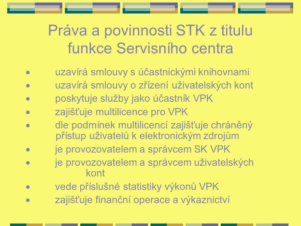 Práva a povinnosti STK z titulu funkce Servisního centra  uzavírá smlouvy s účastnickými knihovnami  uzavírá smlouvy o zřízení uživatelských kont  poskytuje služby jako účastník VPK  zajišťuje multilicence pro VPK  dle podmínek multilicencí zajišťuje chráněný přístup uživatelů k elektronickým zdrojům  je provozovatelem a správcem SK VPK  je provozovatelem a správcem uživatelských kont  vede příslušné statistiky výkonů VPK  zajišťuje finanční operace a výkaznictví