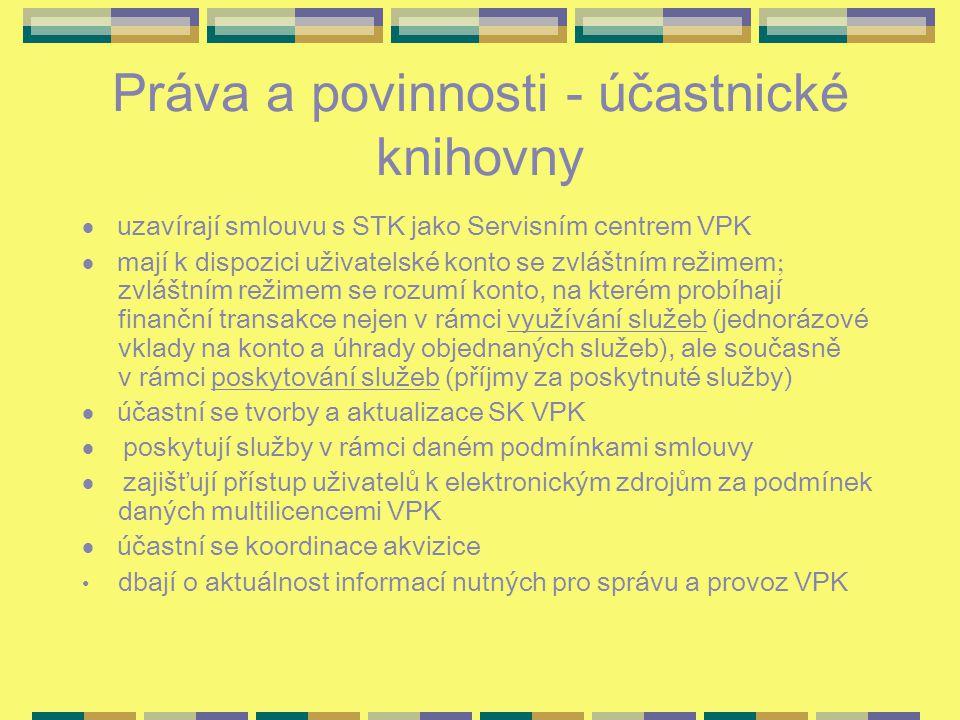 Práva a povinnosti - účastnické knihovny  uzavírají smlouvu s STK jako Servisním centrem VPK  mají k dispozici uživatelské konto se zvláštním režime
