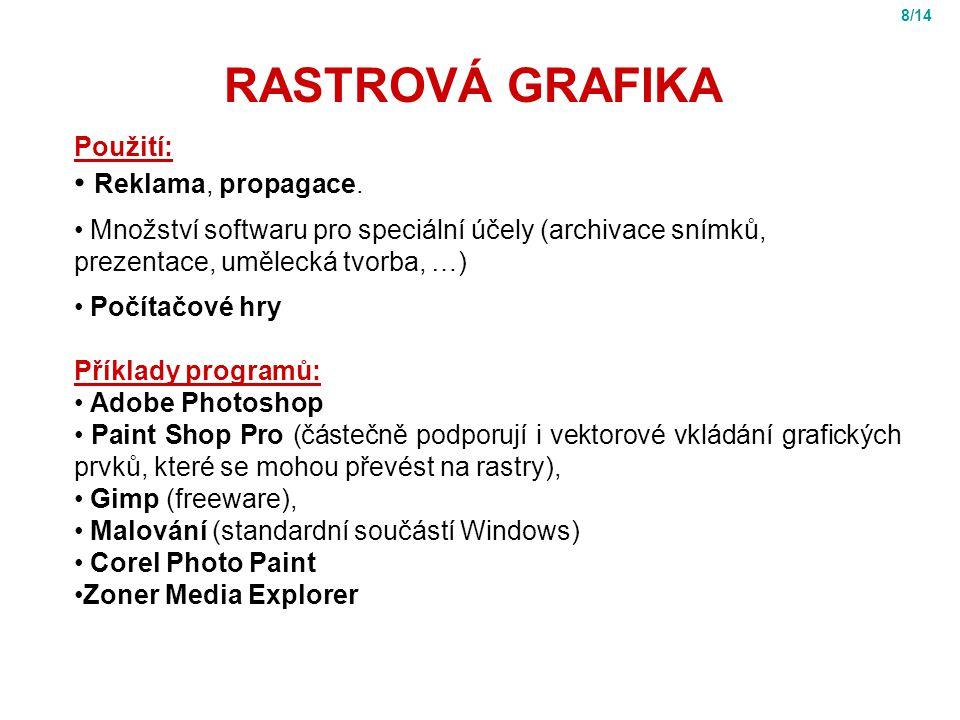 RASTROVÁ GRAFIKA Použití: Reklama, propagace.