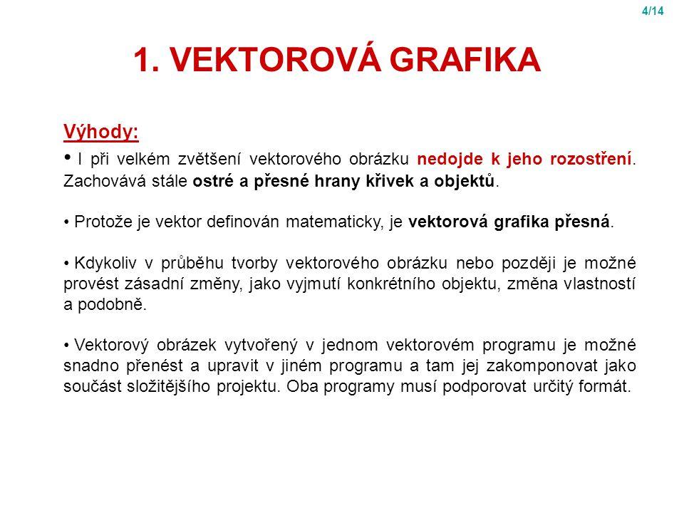 1.VEKTOROVÁ GRAFIKA Výhody: I při velkém zvětšení vektorového obrázku nedojde k jeho rozostření.