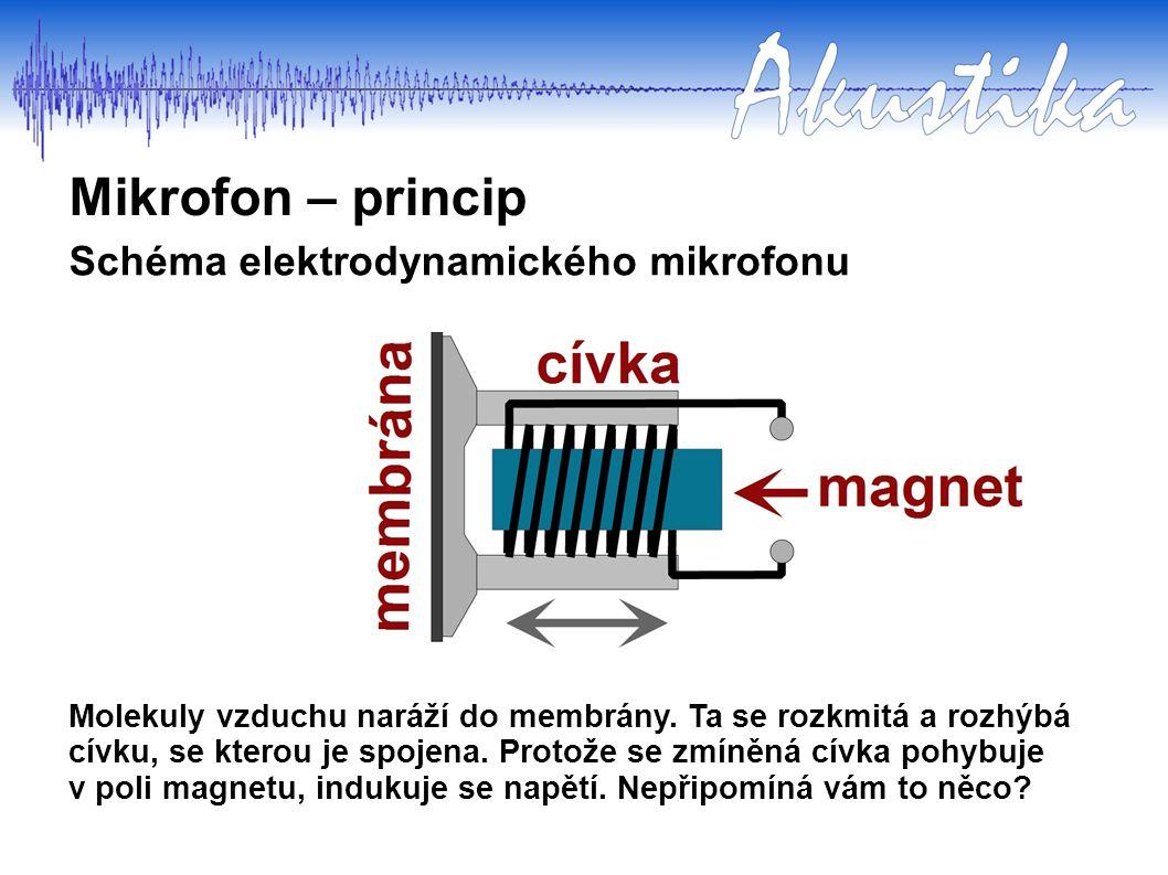 Mikrofon – princip Schéma elektrodynamického mikrofonu Molekuly vzduchu naráží do membrány. Ta se rozkmitá a rozhýbá cívku, se kterou je spojena. Prot