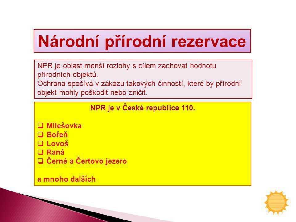 Národní přírodní rezervace NPR je v České republice 110.  Milešovka  Bořeň  Lovoš  Raná  Černé a Čertovo jezero a mnoho dalších NPR je oblast men