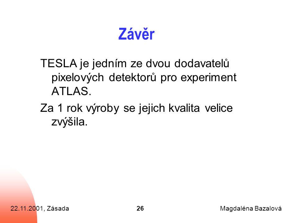 22.11.2001, ZásadaMagdaléna Bazalová26 Závěr TESLA je jedním ze dvou dodavatelů pixelových detektorů pro experiment ATLAS.