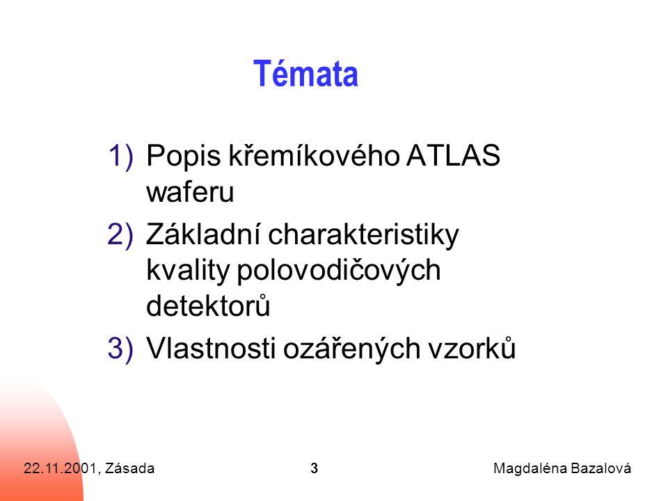 22.11.2001, ZásadaMagdaléna Bazalová3 Témata 1)Popis křemíkového ATLAS waferu 2)Základní charakteristiky kvality polovodičových detektorů 3)Vlastnosti ozářených vzorků