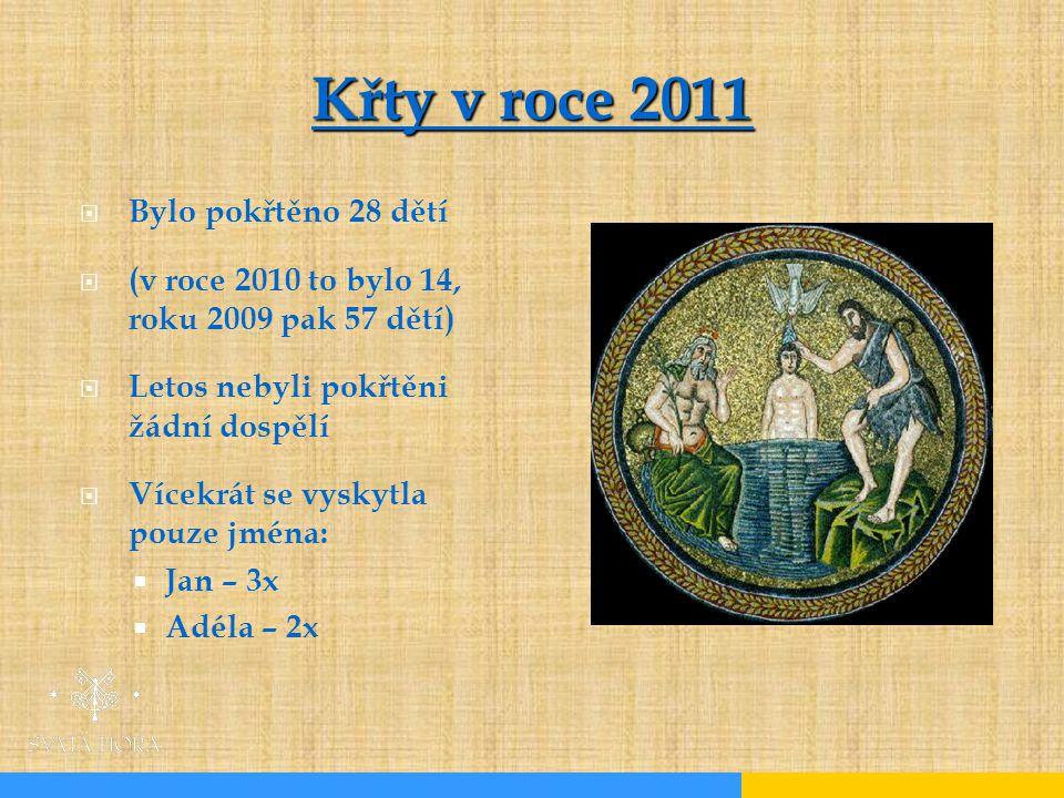  Bylo pokřtěno 28 dětí  (v roce 2010 to bylo 14, roku 2009 pak 57 dětí)  Letos nebyli pokřtěni žádní dospělí  Vícekrát se vyskytla pouze jména:  Jan – 3x  Adéla – 2x Křty v roce 2011